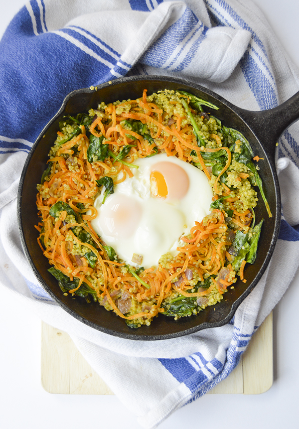 Pesto Breakfast Skillet with Spiralized Sweet Potatoes