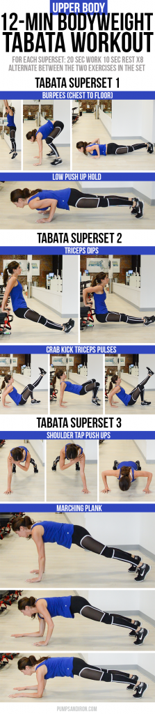 12-Minute Bodyweight Tabata Workout Series: Upper Body ...
