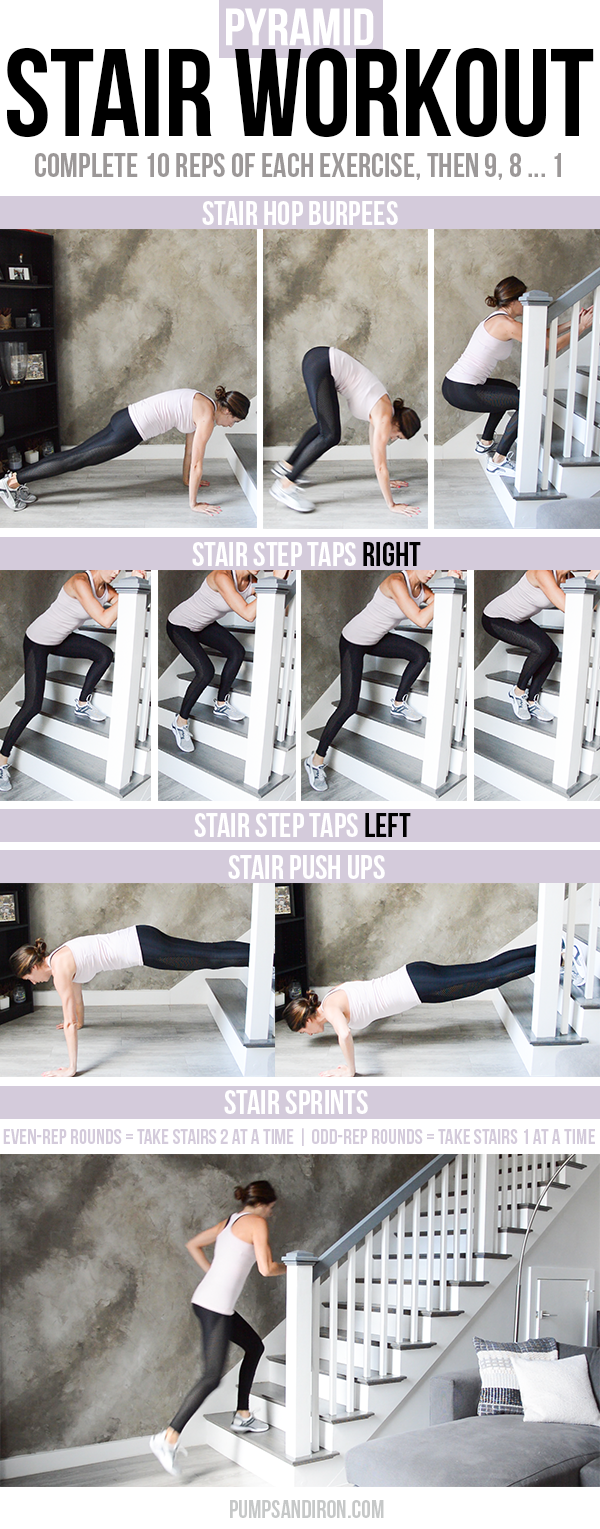 Stair Pyramid Workout - bodyweight exercises and stair sprints