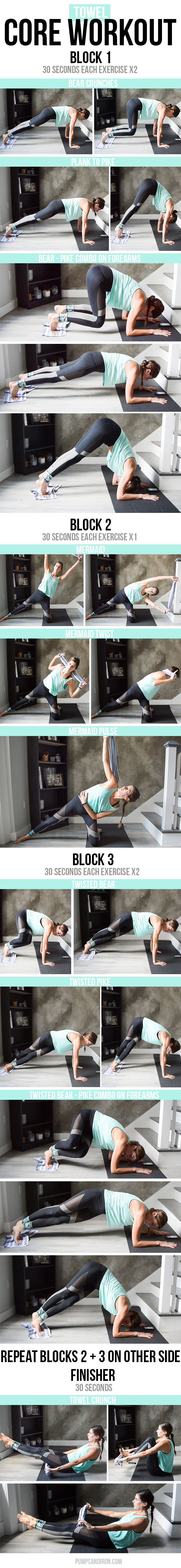 15-Minute Towel Core Workout - a mix of sliding plank work and kneeling core exercises