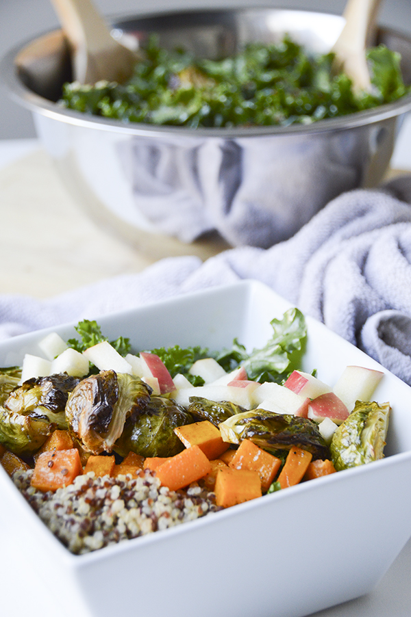 Roasted Fall Veggies, Kale & Quinoa Bowl with a Maple Vinaigrette