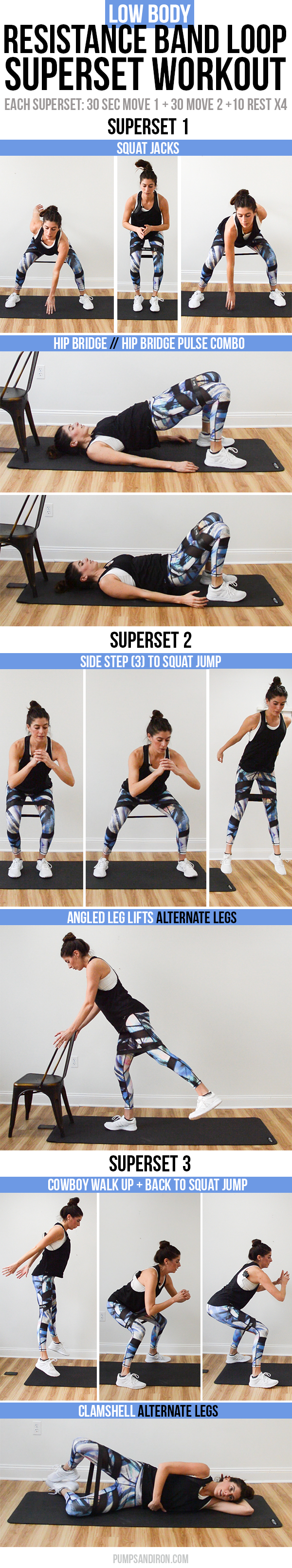 15 Minute Lower Body Resistance Band Loop Superset Workout Pumps