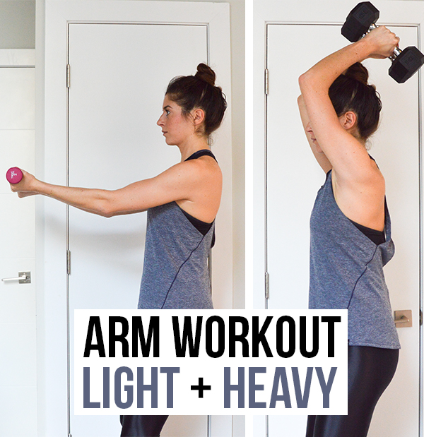 Arm Workout (Biceps + Triceps) - This workout challenges both strength and endurance by using light weights with high reps for a burn-out and following that up with heavier dumbbell exercises