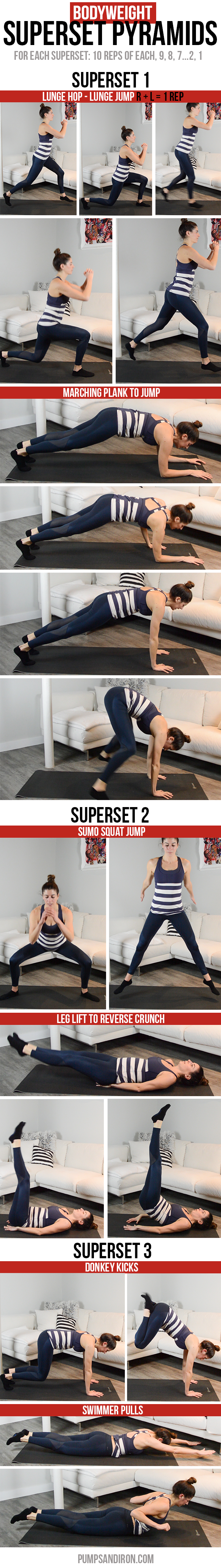 Superset Pyramids Workout - all bodyweight exercises, no equipment needed