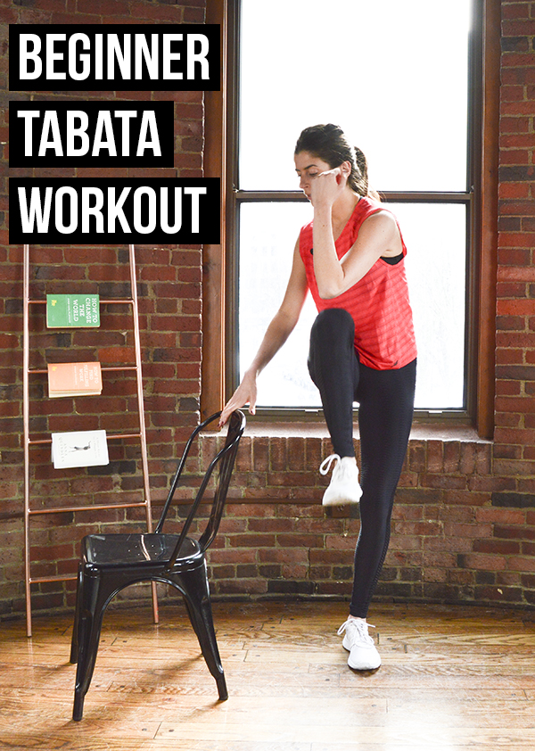 This tabata workout is perfect for beginners. No equipment needed, although a chair is helpful if you're a true beginner or working with mobility issues.