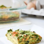 This turmeric egg bake is packed with spinach and shredded sweet potatoes for an easy, flavorful make-ahead breakfast.
