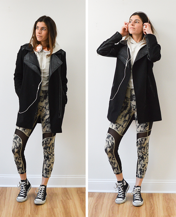 Styling Sam Edelman jacket, Lululemon leggings and a J Crew top from thredUP. You can win a $250 credit on the blog!