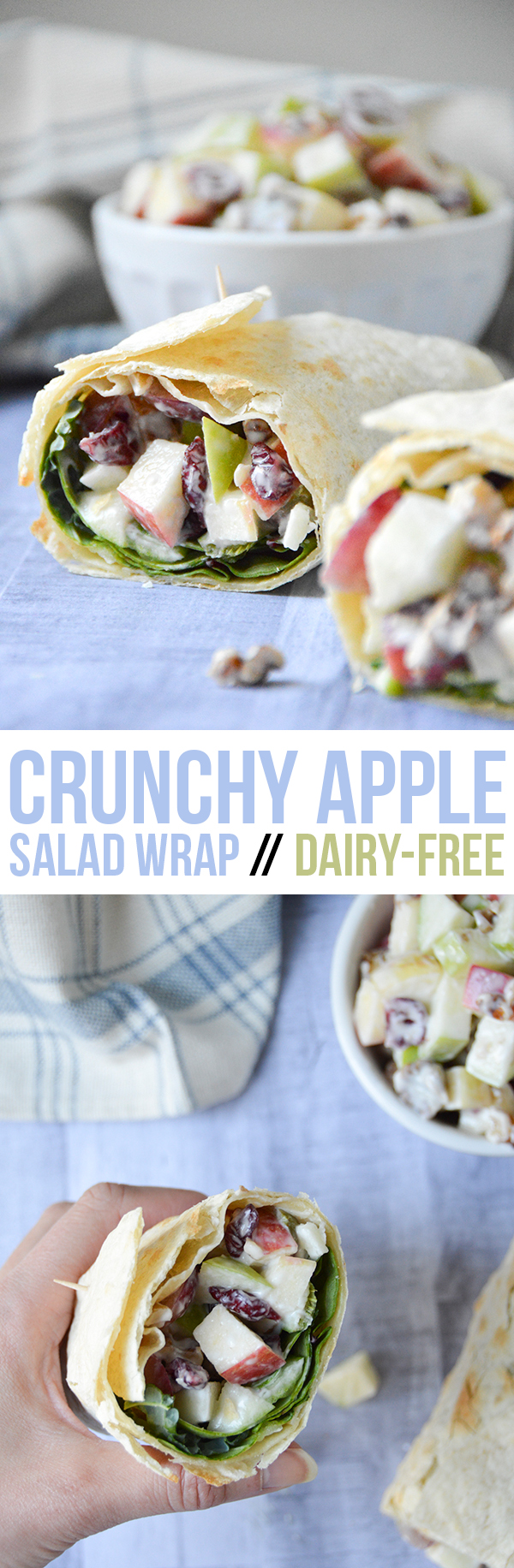 This crunchy apple salad wrap is dairy-free and easily made in under 15 minutes.
