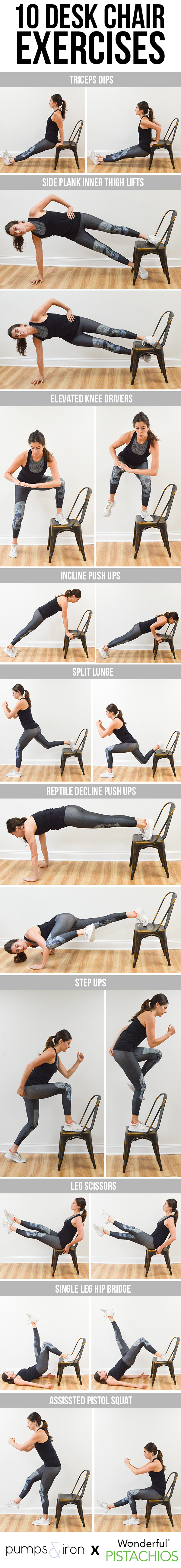 10 Exercises You Can Do With A Desk Chair Pumps Iron