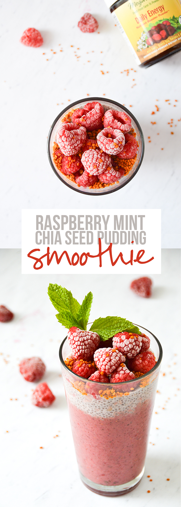 Slurp down this raspberry mint chia seed pudding smoothie with a straw ... then a spoon!