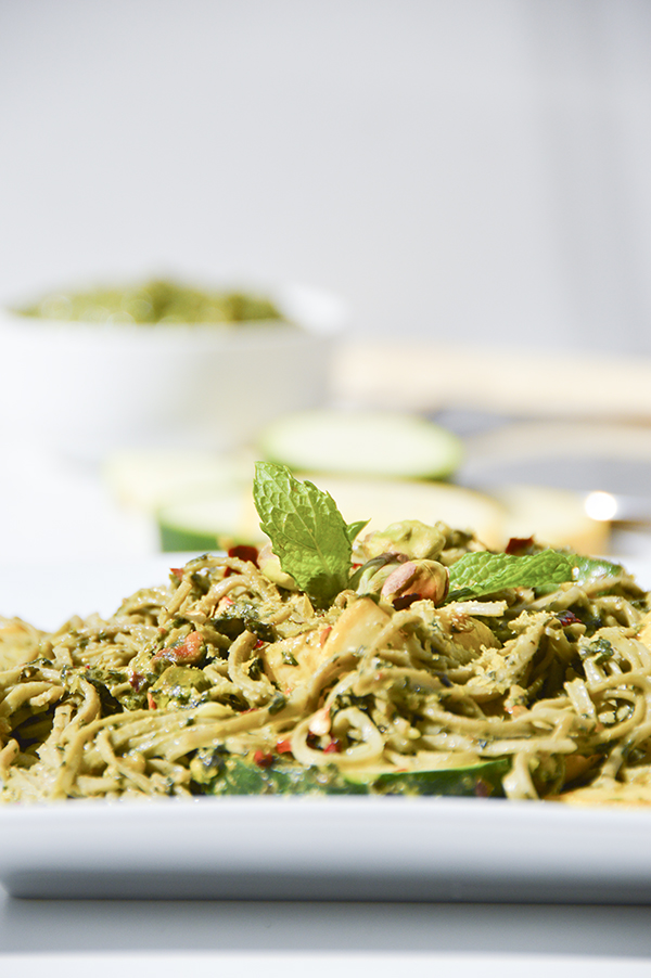 Mint Pesto Edamame Pasta with Summer Squash