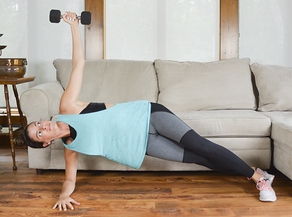 This tabata dumbbell workout replaces the traditional 10 seconds of rest with a 10-seconds isometric hold.
