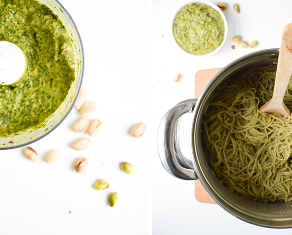 This mint pesto edamame pasta with summer squash recipe makes for a delicious dinner! Gluten-free and vegan.