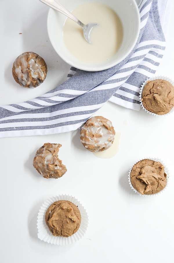 These fudgy chai blender muffins are vegan and gluten-free. Make them with or without a vanilla glaze.