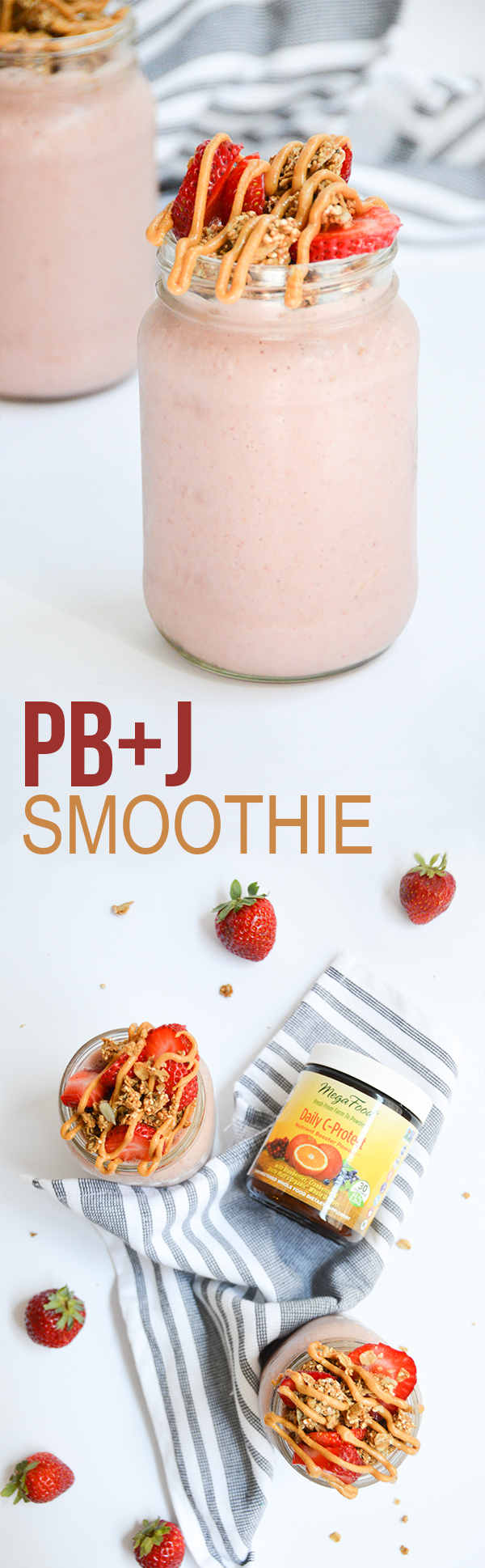 PB&J smoothies for two! Keep it simple or try topping with granola and a peanut butter drizzle (yes, please!)