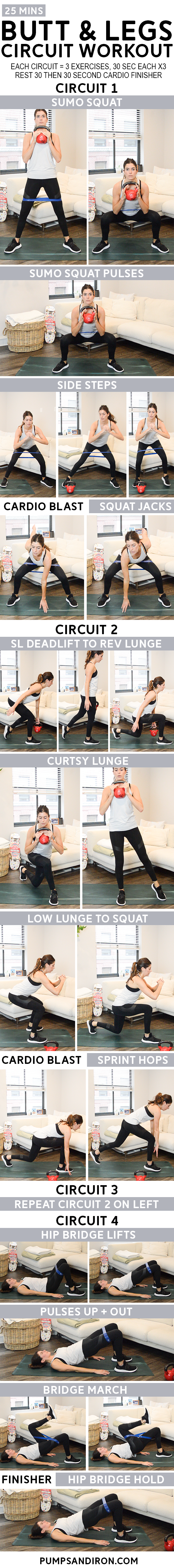 25 Minute Circuit Workout With Cardio Blasts Legs Butt Pumps Iron Arms Abs