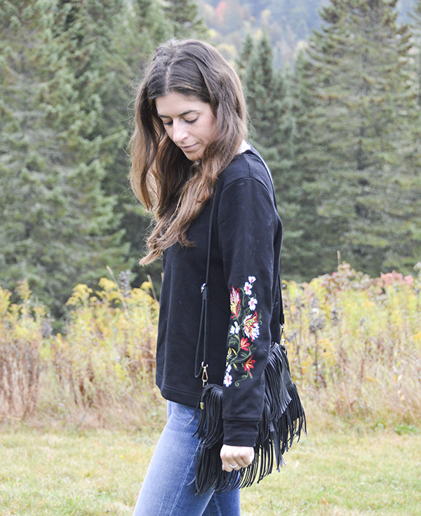 Kimberli Embroidered Sleeve Knit Sweatshirt by Hazel from my October Stitch Fix Review