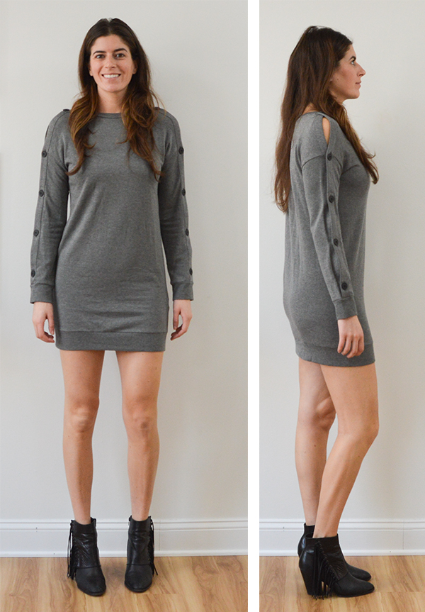 Stitch Fix Review: November - button sleeve sweatshirt dress