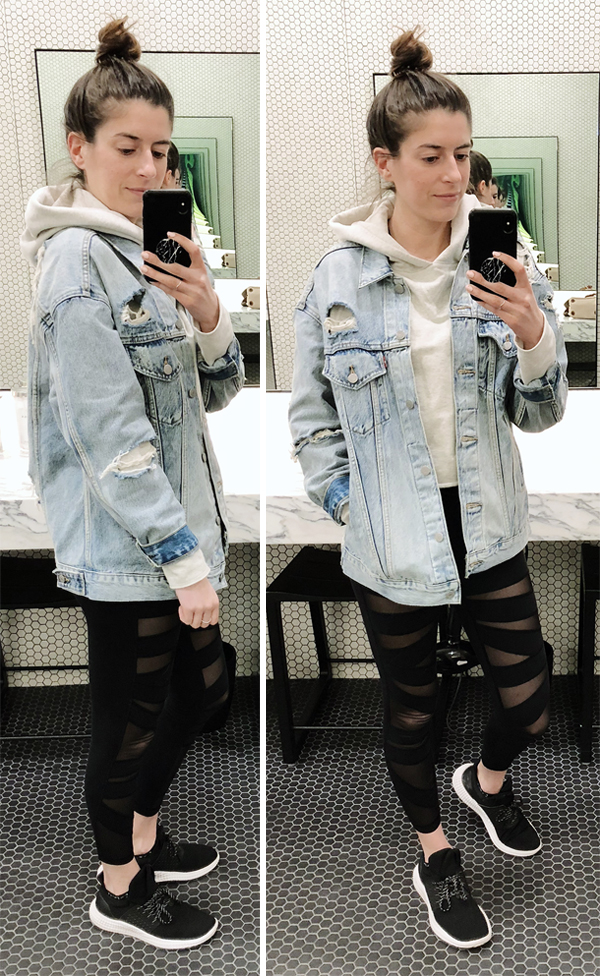 35b1e20acb6 A Week of Workout Outfits (April) - Levi s oversized denim jacket and Lululemon  crop ...