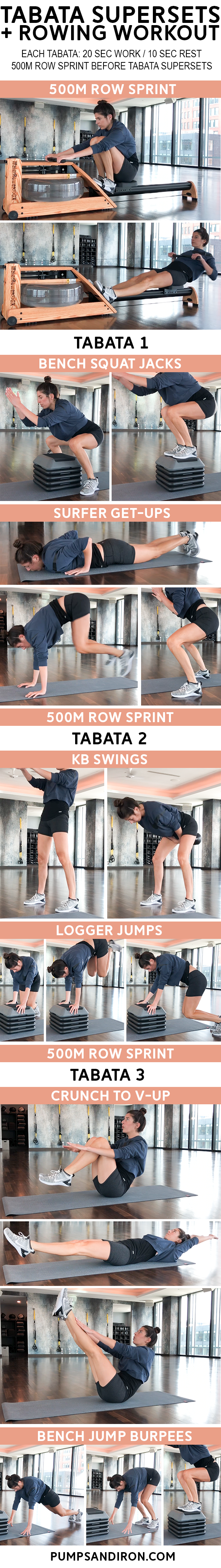 tabata supersets rowing gym workout - Rowing + Tabata Supersets Workout