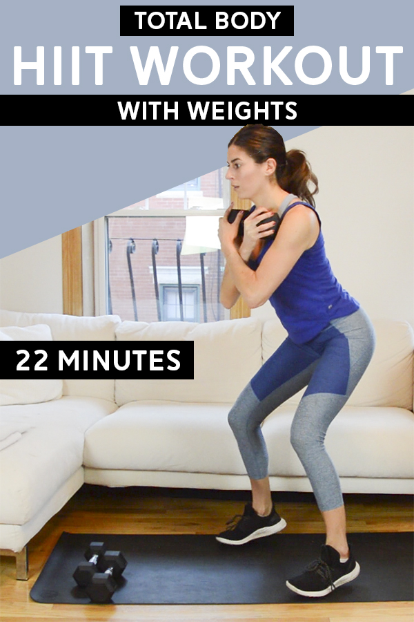 Dumbbell HIIT Workout (Total Body, 22 Mins)