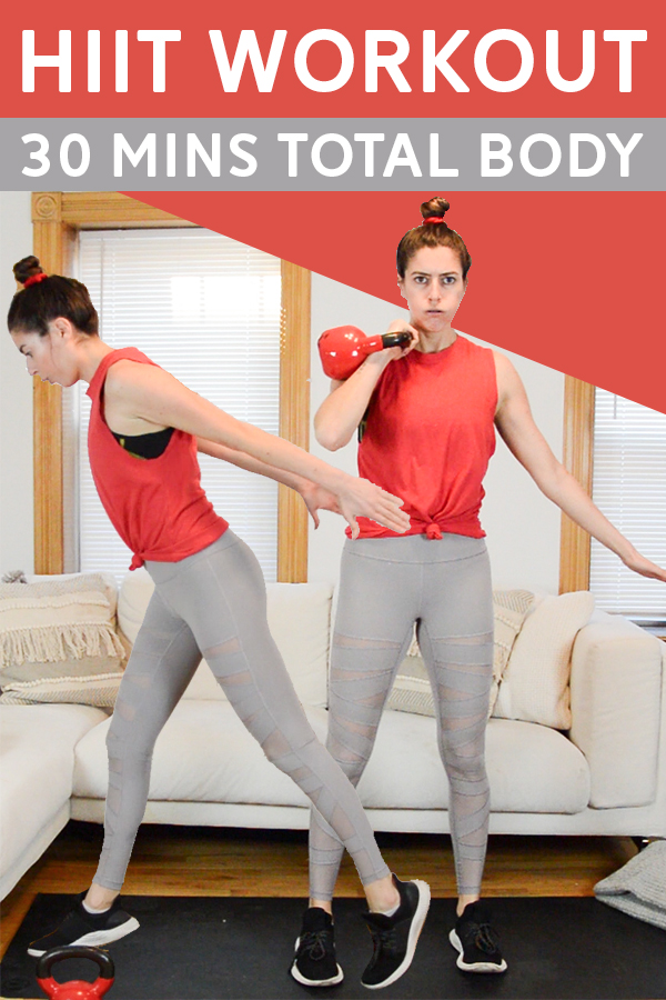 30 Min HIIT Workout with Weights (Total Body) - This 30 min hiit workout is broken up into three circuits. You'll need a kettlebell and set of dumbbells. Follow-along video included! #hiit #intervaltraining #hiitworkout #workout #fitness