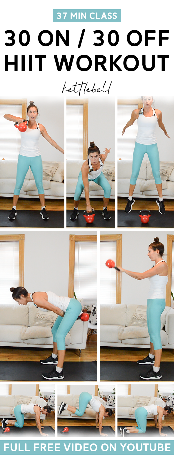 30 On / 30 Off Kettlebell HIIT Class - This free hiit workout class video includes warm up and cool down.  The whole body and all you need is a kettlebell.  The interval structure is 30 seconds on / 30 seconds off.  #kettlebell #hiit # workout